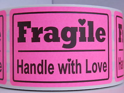 Fragile Handle With Love 2x3 Fluorescent Pink Warning Sticker Label 250rl