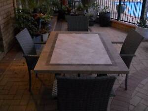 Inlaid Marble Table + 6 Chairs Edgewater Joondalup Area Preview