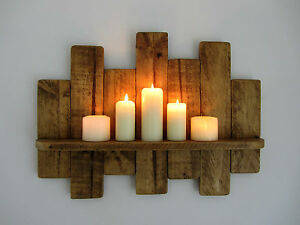 61cm Recycled Pallet Wood Shelf Rustic Shabby Chic Shelf Antique Brown Beeswax Ebay