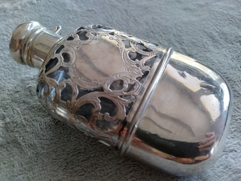Sterling Silver Over Glass Flask With Sterling Cup Made By Theo. A. Kohn & Sons