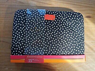 """Kate Spade Laptop Sleeve neoprene Case 15"""" black white polka dot brand new"""