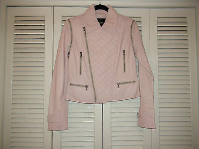 Light Pink Moto Jacket (Bagatelle Light Pink Quilted Convertible Lambskin Leather Jacket Vest Moto)