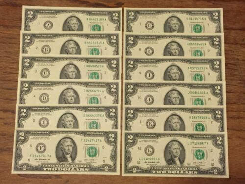 WOW 12 note $2 Two Dollar Bills 2013 (12 Districts Complete set ) UNCIRCULATED