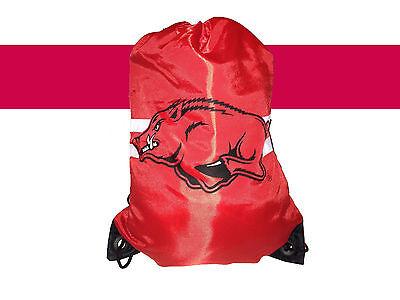 ARKANSAS RAZORBACKS NCAA DRAWSTRING BACKPACK RED GYM BAG