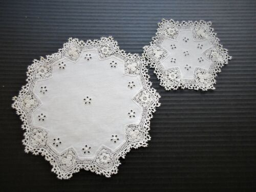 SET OF TWELVE ANTIQUE EMBROIDERED LINEN & LACE DOILIES.. TWO SIZES
