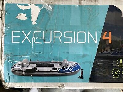 Intex Excursion 4-Person Inflatable Boat Set with 2 Oars & Air Pump, New