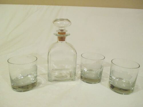 Rolls Royce 1925 Silver Ghost Decanter & 3 Glasses Highball Tumbler Etched Glass