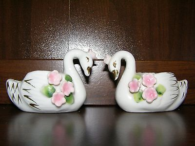Small Vintage White Pocelain Swans w Applied Flowers, Made in Japan