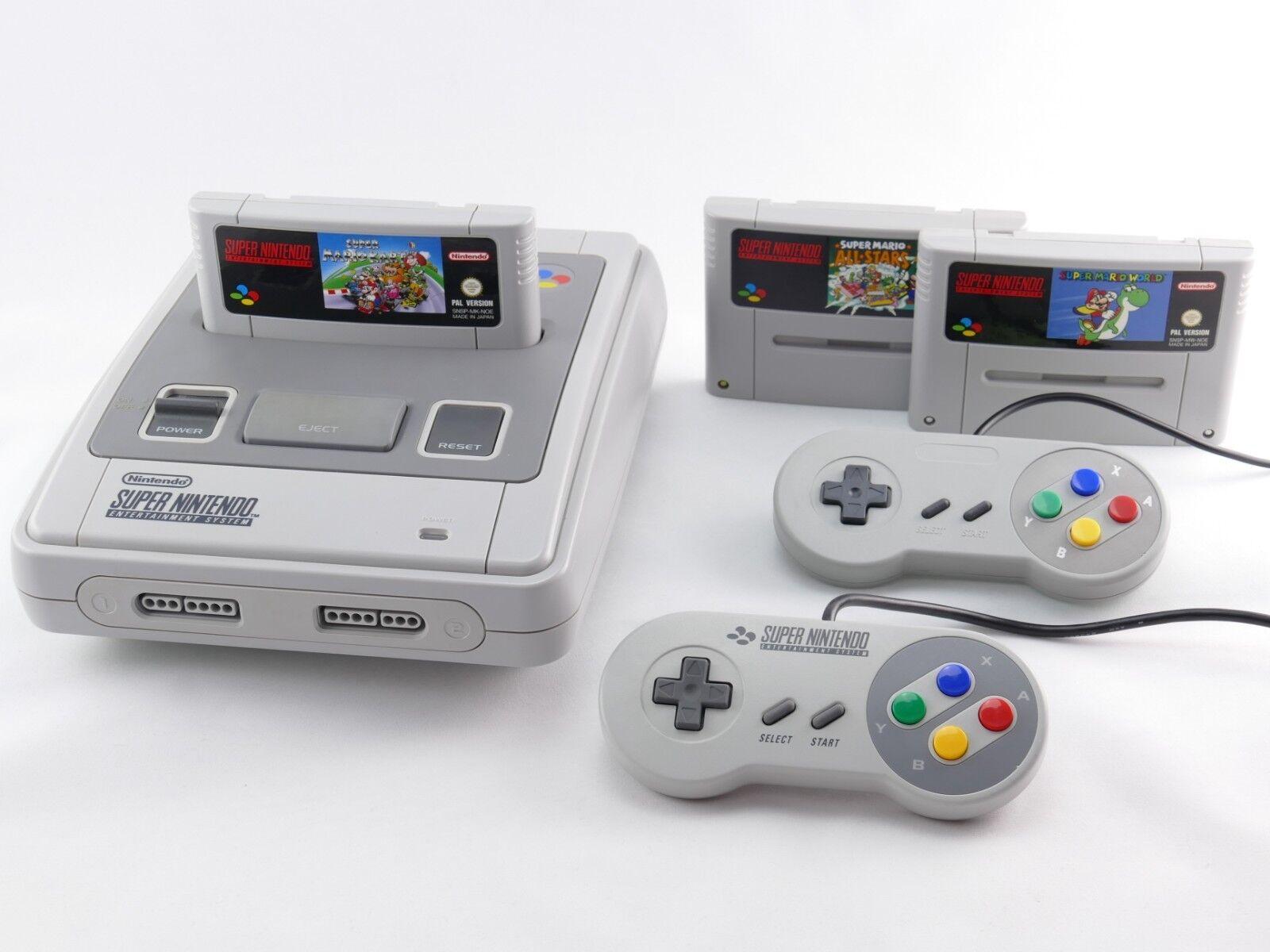 SNES / Super Nintendo Konsole Mario Spiel, ORIGINAL Controller, Strom & Kabel