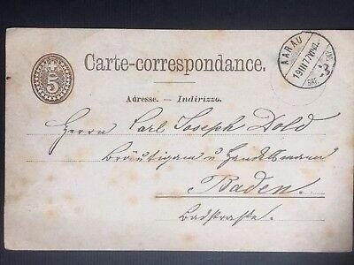 Postkarte Schweiz 🇨🇭 19.03.1877 von Aarau nach Baden