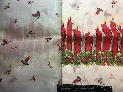 Vintage Cotton Organdy Fabric 40s50s Christmas Holiday NOVELTY Candles 35w 1yd