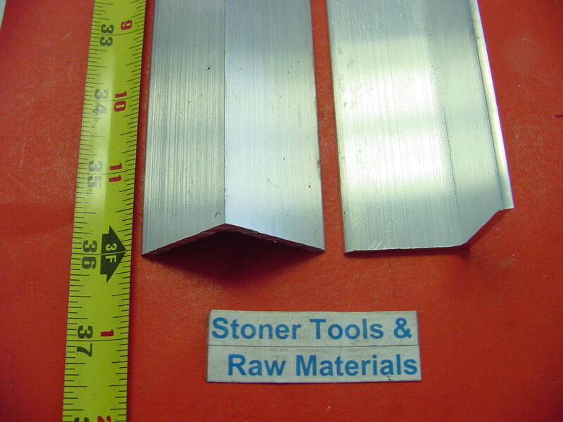 """2 Pieces 1-1/2""""x 1/8"""" Thick ALUMINUM 6061 ANGLE BAR 36"""" long T6 Mill Stock"""