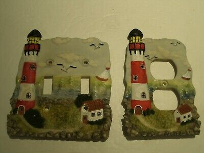 Vtg 1999 Lighthouse Double Toggle Switch Plate + Outlet Cover 3D Resin