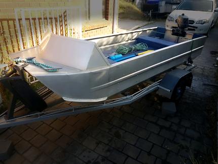 12 foot twin hull TINNY,  Yamaha 3hp and trailer