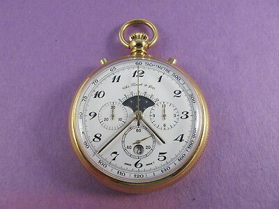 Chs. Tissot & Fils  Chronograph Pocket watch Moon Phase Valjoux (Moon Phase Pocket Watch)