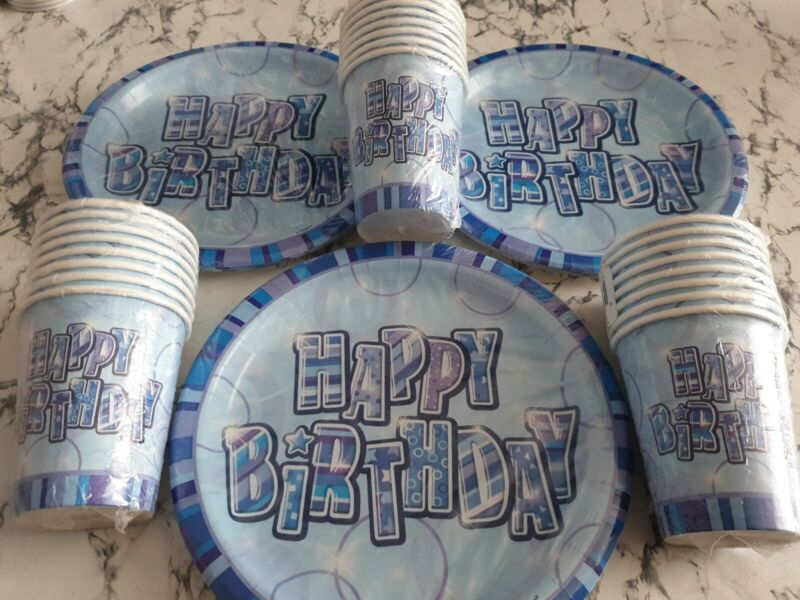 Glitz Blue Happy Birthday Party Set 24 People Paper Plates Cups Adults Table