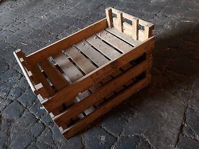 3X RUSTIC WOODEN FARM TRAY / APPLE CRATE /POTATO CHITTING BUSHEL BOX VINTAGE