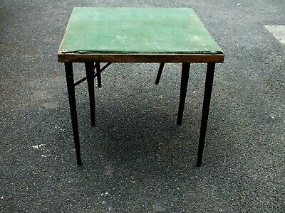 Rather Dilapidated Green Beige Folding Card Table Circa 1950