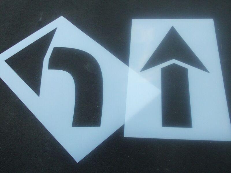 """60"""" Parking Lot Arrow Stencils BOTH MATCHING HEIGHT 1/16"""" ReUsable Flexible"""
