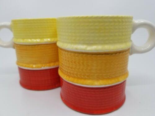 Vintage Holt Howard 1962 mugs orange yellow red striped retro mcm