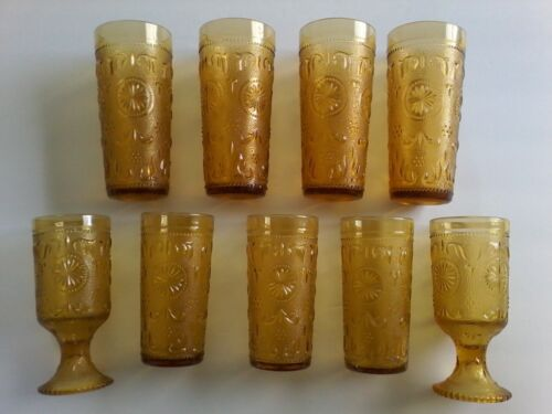 Vintage Yellow Glass Drinking Glasses with Raised Motifs, 9 piece