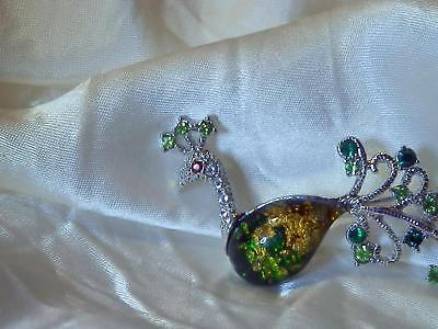 Vintage 80's Green Gold Foil Lucite Peacock Silvertone Very Cute Brooch 217JN8](Cute Peacock Costumes)