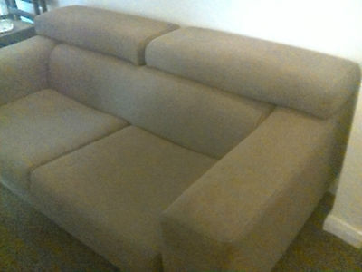 Large 2 Seat Retro Adjustable Back Settee Sofa Nutmeg Brown In Need of TLC