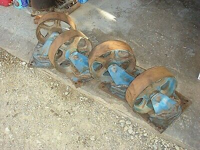 4 Vintage 10 Steel Cast Iron Hit Miss Industrial Swivel Caster Wheels Heavy