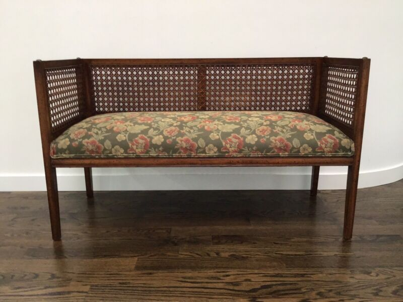 Mid -Century Modern Hollywood Regency Boxy Caned Bench