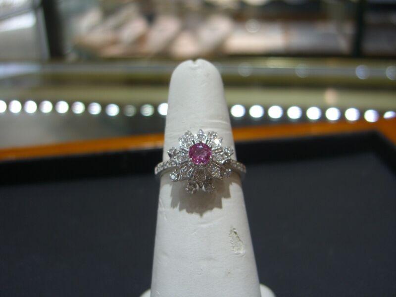 Fine 14 Karat White Gold Diamond And Pink Sapphire Ring Hand Made Size 8.5