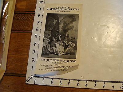 Vintage MARIONETTE Paper: PAUL BRANN's Marionetten Theater hand bill EARLY