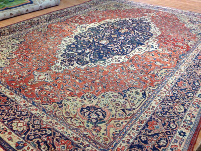 Fantastic Floral - 1890s Antique Oriental Rug - Handmade Carpet - 10 X 13.6 Ft.
