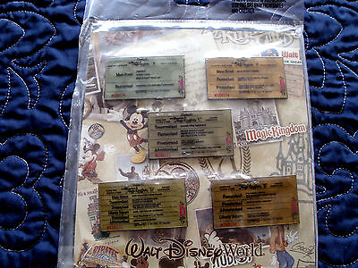 Disney * WDW TICKET BOOK * 5 pin  BOOSTER Set - A-E Ticket Pins New In Package