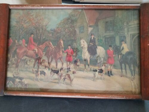 Antique Vintage Beverage Tray with English FOX HUNT Scene Glass Top