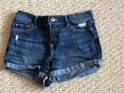 Abercrombie Kids Size 13/14 Medium Blue Wash Denim Jean Shorts Distressed EUC
