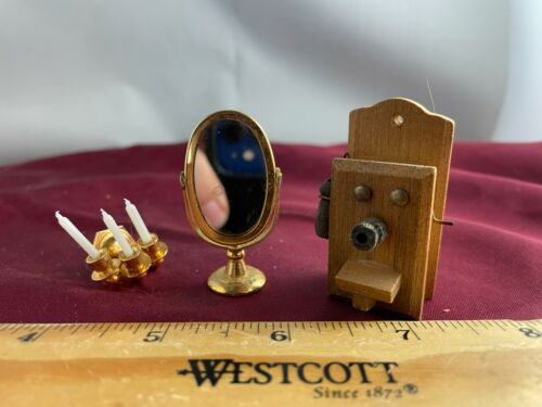 Doll House Miniatures Lot of 3-Sconce, Mirror & Wall Telephone