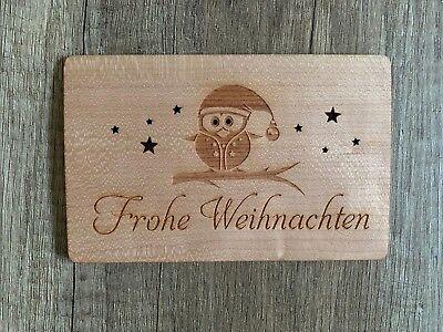 Eule Karten (GrußKarte aus Holz Geschenk Karte Weihnachtskarte X Mas Frohe Weihnachten Eule)