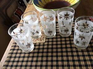 Five vintage frosted glasses with stars