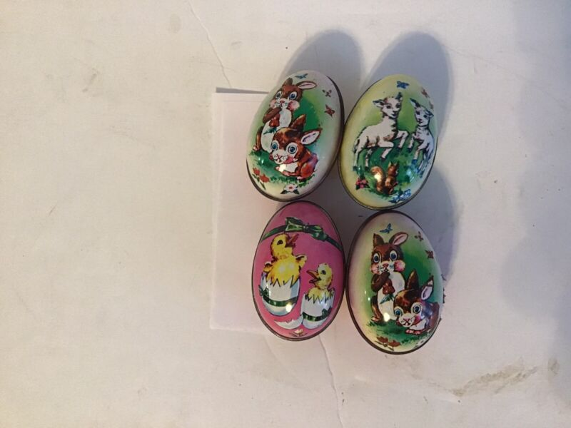 4 Murray Allen Vintage Metal Egg Candy Tins
