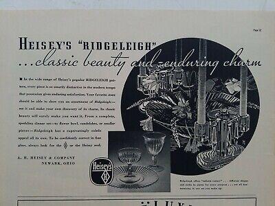 1937 A.H. Heisey Ridgeleigh pattern candle holder bowl stem vintage glassware ad