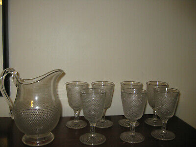 Antique Pitcher and 7 Footed Goblets Wine Water Glasses Pressed Glass Textured Antique Water Goblets