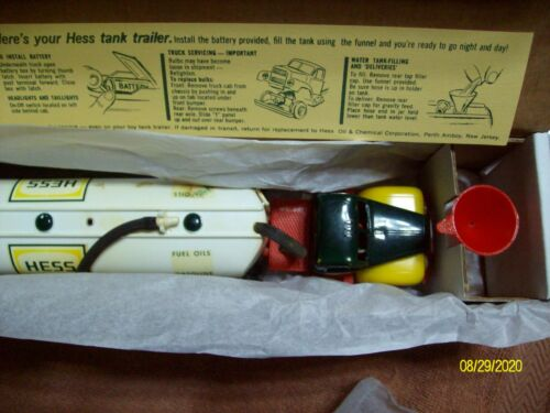 1964 HESS TANKER TRUCK WITH REPRODUCTION BOX FUNNEL FUNNEL INSERT BATTERY CARD .