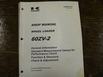 Kawasaki 60zv-2 Wheel Loader Adjustment Shop Service Repair Manual