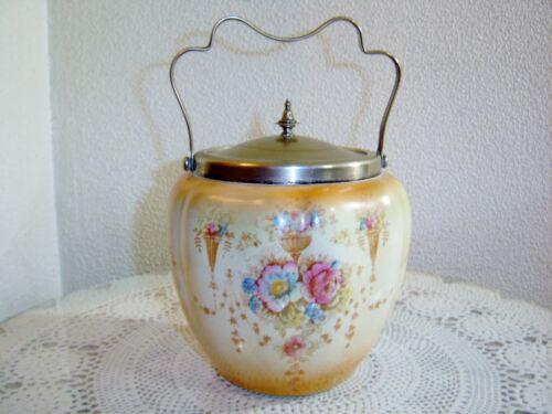 Antique Crown Devon Fieldings England Porcelain Biscuit Jar 1917-1930