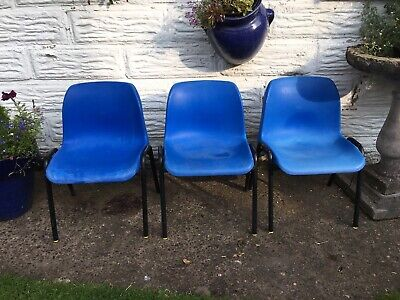 3 VINTAGE KIDS CHILDRENS SCHOOL STACKING CHAIRS 70's 80's