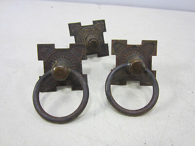 2 Antique Sewing Machine Ring Drawer Pulls & 1 Backplate  #567