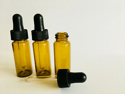 3 x Amber Glass 10ml Pipette Bottles Vials Eye Ear Drop Dropper Aromatherapy - Amber Glass Drop
