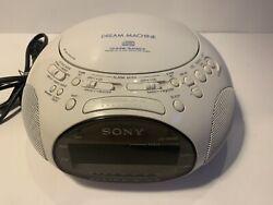 SONY Dream Machine ICF-CD831 **TESTED**  CD Radio Dual Alarm Clock Audio White