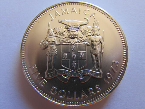 1973 Jamaica $5 Sterling Silver Manley Coin 5 Dollars Mint State Unc KM#59