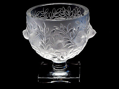 "Signed Lalique Crystal Pedestal Bowl ""Elizabeth"" Birds In Bush France XLNT"